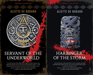 Book covers: Servant of the Underworld and Harbinger of the Storm by Aliette de Bodard