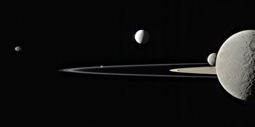 Five moons of Saturn