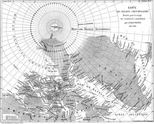 Carte des régions circumpolaires du capitaine Hatteras