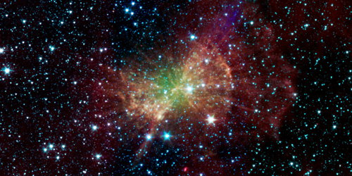 M27, the Dumbbell Nebula, as seen by the Spitzer Space Telescope