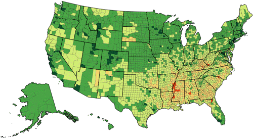 U.S. life expectancy by county, 2009