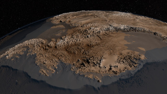 Bedmap2 topography map of Antarctica (NASA)