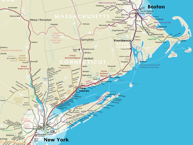Northeast Rail Map