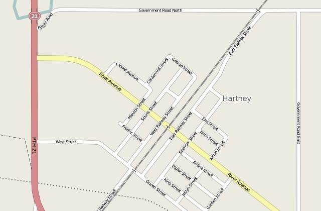 Screenshot of Hartney, Manitoba in OpenStreetMap
