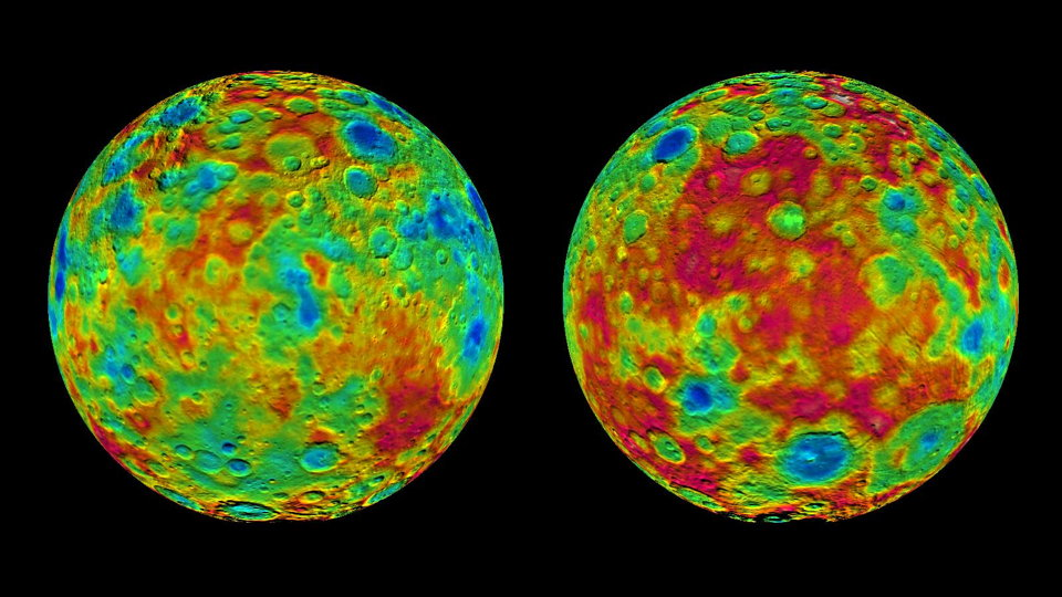 Topographic Maps of Ceres' East and West Hemispheres