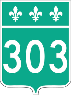 Quebec Route 303 highway sign